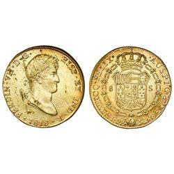 Lima, Peru, bust 8 escudos, Ferdinand VII, 1818JP, ex-Bir.