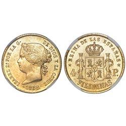 Philippines (under Spain), 4 pesos, Isabel II, 1868 (frozen date), NGC MS 62.