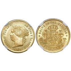 Philippines (under Spain), 2 pesos, Isabel II, 1861/0, NGC AU 58.