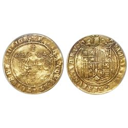 Seville, Spain, double excelente, Ferdinand-Isabel, ermine at top, mintmark S flanked by ringlets at