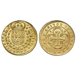 Seville, Spain, milled 8 escudos, Phillip V, 1703J, assayer at top left, mintmark at lower right.