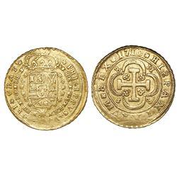 Seville, Spain, milled 8 escudos, Phillip V, 1710M, assayer at top right, mintmark at lower left.