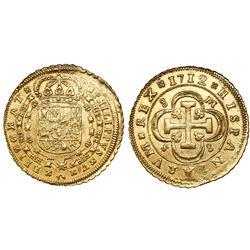Seville, Spain, milled 8 escudos, Phillip V, 1712M, assayer at top right, mintmark at lower left.