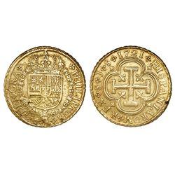 Seville, Spain, milled 8 escudos, Philip V, 1721J.