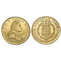 Seville, Spain, bust 8 escudos, Philip V, 1729, no assayer, king's name as PHILP.