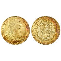 Madrid, Spain, bust 8 escudos, Charles III, 1774PJ.