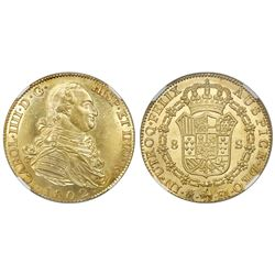 Madrid, Spain, bust 8 escudos, Charles IV, 1802FA, NGC MS 63+, finest known in NGC census.