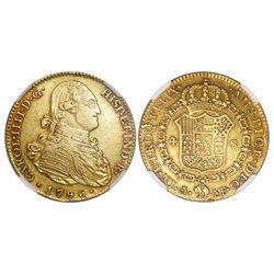 Madrid, Spain, bust 4 escudos, Charles IV, 1796MF, NGC AU 55.