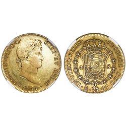 Madrid, Spain, bust 4 escudos, Ferdinand VII, 1814GJ, NGC AU 50.