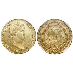 Madrid, Spain, bust 4 escudos, Ferdinand VII, 1820GJ, NGC AU 55.