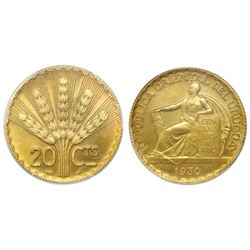 Uruguay (struck at the Paris mint), specimen essai 20 centesimos in gold, 1930, PCGS SP64+.