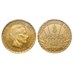 Uruguay (struck at the Paris mint), specimen essai 5 pesos, 1930, PCGS SP64.