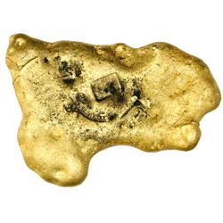 "Small gold ""splash"" ingot, 193 grams, marked with large ""S"" and ""f"" stamps (each in its own box) plu"