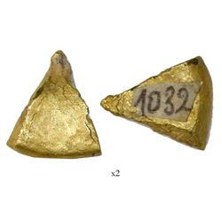 Small, cut gold piece #1032, 6.07 grams, fineness unknown, ex-Espadarte (1558).