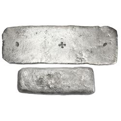 """Silver """"tumbaga"""" bar #M-148, 3841.9 grams, fineness IV@L (1550/2400), with two tax stamps of Charles"""