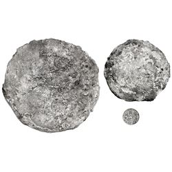 """Silver """"splash"""" ingot, 1718 grams, with three crowned-C tax stamps, from the """"Golden Fleece wreck"""" ("""