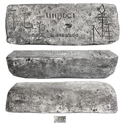 Large silver bar #474 from Potosi, 83 lb 2.3 oz troy, Class Factor 1.0, with markings of mine/date P