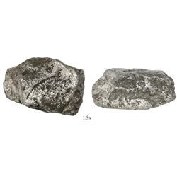 """Small silver """"plata corriente"""" cut piece with partial tax stamp visible, 26.58 grams."""