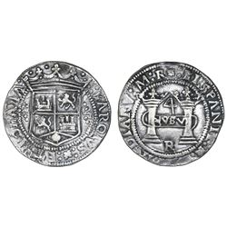 """Mexico City, Mexico, 4 reales, Charles-Joanna, """"Early Series,"""" assayer R (Latin), round panel with P"""