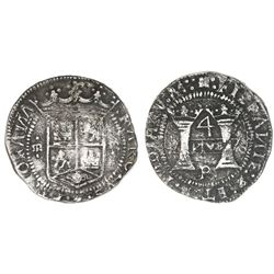 "Mexico City, Mexico, 4 reales, Charles-Joanna, ""Early Series,"" assayer R at bottom between pillars,"