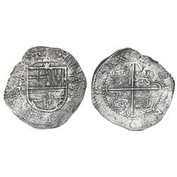 Seville, Spain, cob 8 reales, 1590/89 date to right, assayer Gothic D below mintmark S and denominat