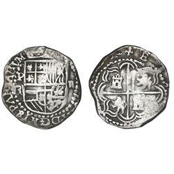 Potosi, Bolivia, cob 2 reales, Philip III, assayer R (curved leg), rare provenance.