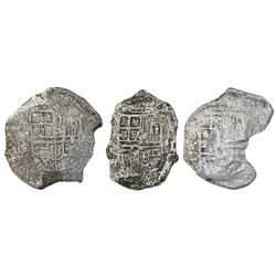 Lot of three Mexico City, Mexico, cob 8 reales, Philip III, assayer D (where visible), Grade 3, with