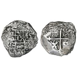 Mexico City, Mexico, cob 4 reales, Philip III, assayer not visible, Grade 3, with HRC replacement ce