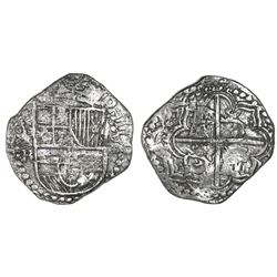Potosi, Bolivia, cob 8 reales, Philip III, assayer R (curved leg), Grade 1, with HRC replacement tag