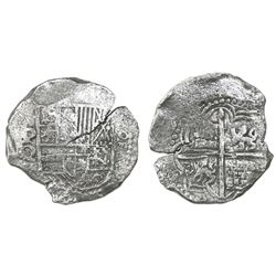 Potosi, Bolivia, cob 8 reales, Philip III, assayer Q, Grade 2, with HRC replacement tag and certific