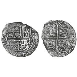 Potosi, Bolivia, cob 8 reales, Philip III, assayer M, Grade 2.