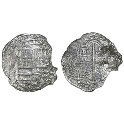 Potosi, Bolivia, cob 8 reales, Philip III, assayer T, Grade 2, with HRC replacement tag and certific