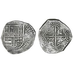 Potosi, Bolivia, cob 8 reales, Philip III, assayer not visible, quadrants of cross transposed, Grade