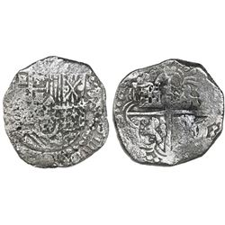 Potosi, Bolivia, cob 8 reales, Philip III, assayer not visible, Grade 2, with HRC replacement tag an