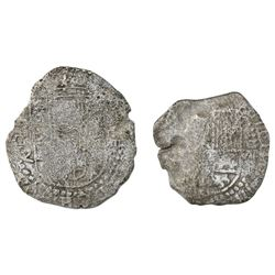 Lot of two Potosi, Bolivia, cob 8 reales, Philip III, assayers Q and not visible, Grade 3.