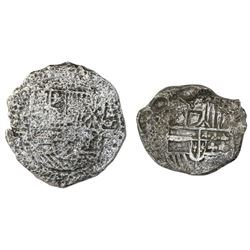 Lot of two Potosi, Bolivia, cob 8 reales, Philip III, assayers R and not visible, Grade 3, certifica