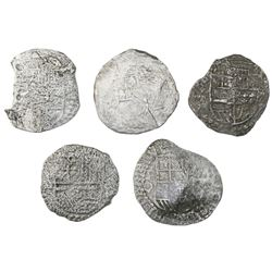 Lot of five Potosi, Bolivia, cob 8 reales, Philip III, various assayers (where visible), Grade 3.