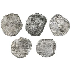 Lot of five Potosi, Bolivia, cob 8 reales, Philip III, various assayers (where visible), Grade 3, wi