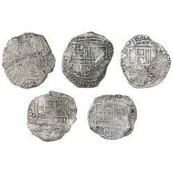 Lot of five Potosi, Bolivia, cob 8 reales, Philip III, various assayers (where visible), Grade 3, wi