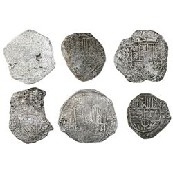 Lot of six Potosi, Bolivia, cob 8 reales, Philip III, various assayers (where visible), Grade 3, wit
