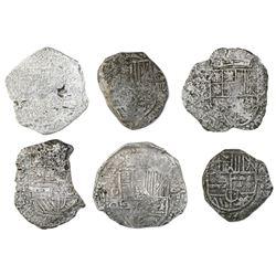 Lot of six Potosi, Bolivia, cob 8 reales, Philip III, various assayers (where visible), Grade 3, wit