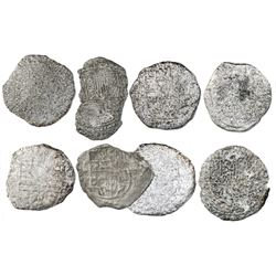 Lot of eight Potosi, Bolivia, cob 8 reales, Philip III, various assayers (where visible), Grades 4 (
