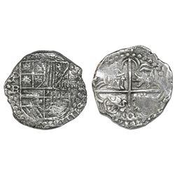 Potosi, Bolivia, cob 4 reales, Philip III, assayer RL (curved leg), Grade 2.