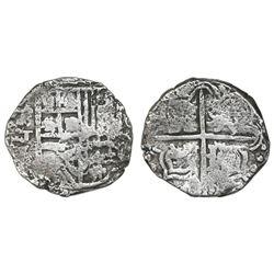 Potosi, Bolivia, cob 4 reales, Philip III, assayer T, Grade 1 quality but Grade 3 in database, certi