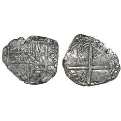 Potosi, Bolivia, cob 4 reales, Philip III, assayer not visible, Grade 2, with HRC replacement tag an