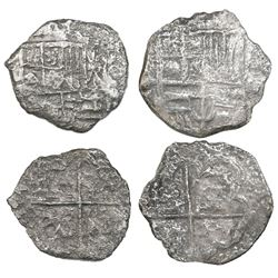 Lot of two Potosi, Bolivia, cob 4 reales, Philip III, assayers not visible, Grade 3.
