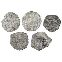 Lot of five Potosi, Bolivia, cob 4 reales, Philip II or III, various assayers (where visible), Grade