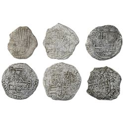 Lot of six Potosi, Bolivia, cob 4 reales, Philip III, various assayers (where visible), Grade 3, wit