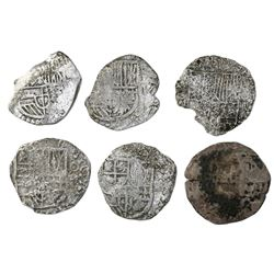 Lot of six Potosi, Bolivia, cob 4 reales, Philip III, assayer not visible, Grade 3, with HRC replace