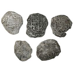 Lot of five Potosi, Bolivia, cob 4 reales, Philip II and III, assayers B (one) and T (four), Grade 4